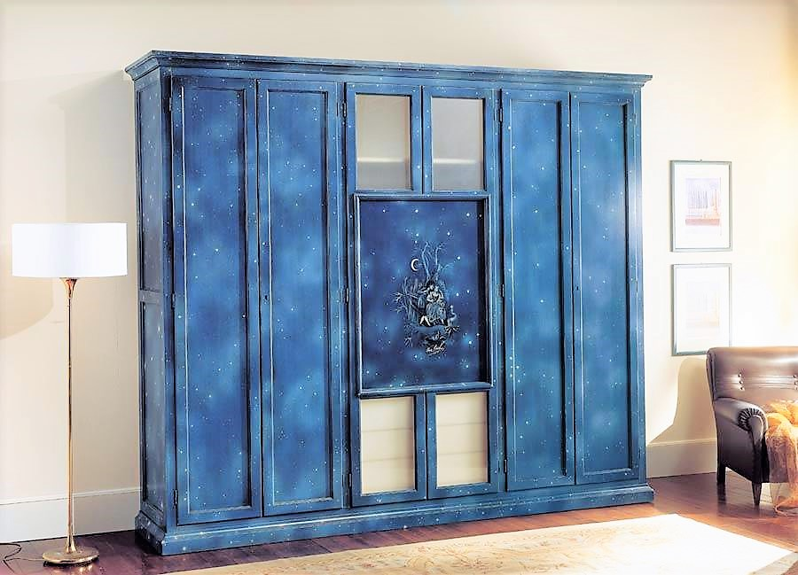 Lacquered solid wood wardrobe 6 doors blu notte