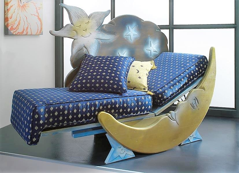 Dormeuse in solid wood  blu notte