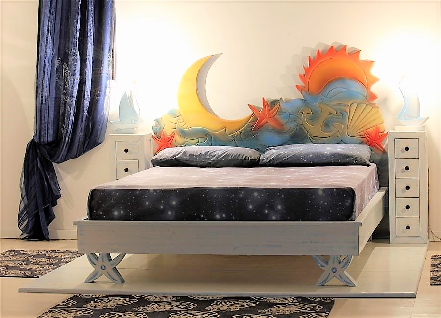Container bed in lacquered solid wood with bedside table with bedside tables cielo mare