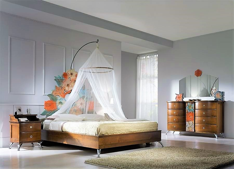 Bed fiori incantati with tester curtains bedside table