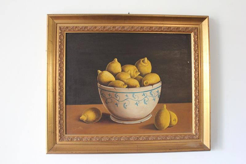 Quadro con cornice \'Ciotola con limoni\' G. Zinelli Misure tela circa ...