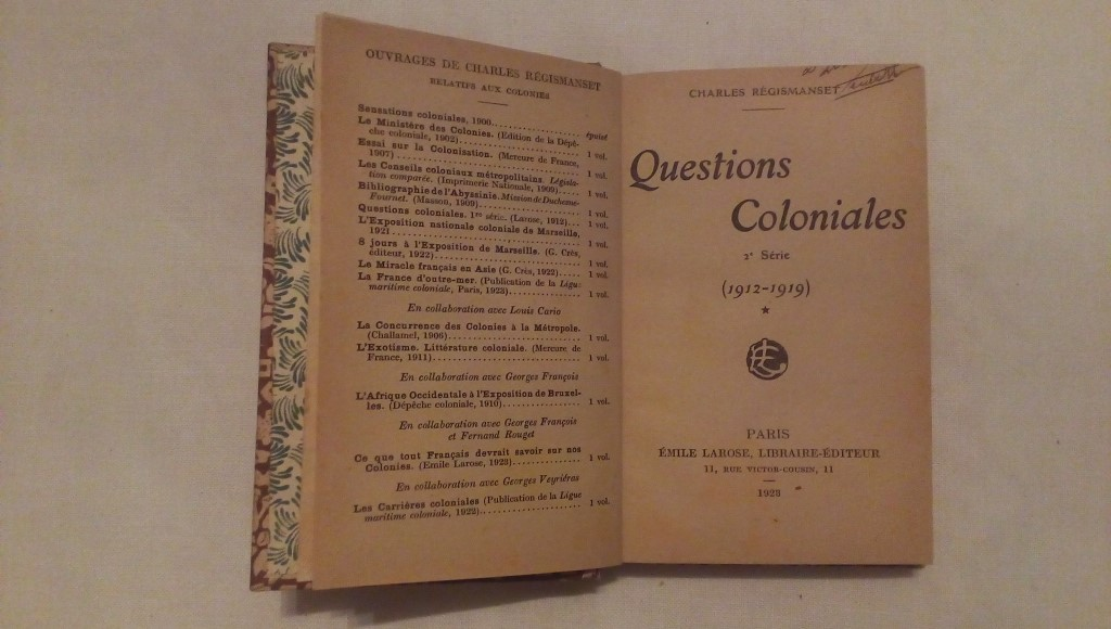 Question coloniales - Charles Regismanset